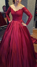 Load image into Gallery viewer, Off the Shoulder Ball Gown Long Prom Dress With Sleeves School Dance Dress Fashion Winter Formal Dress YDP0270