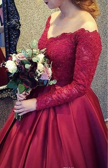 Off the Shoulder Ball Gown Long Prom Dress With Sleeves School Dance Dress Fashion Winter Formal Dress YDP0270