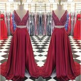 Deep V-neck Two Pieces Long Prom Dress With Beading Custom-made School Dance Dress Fashion Graduation Party Dress YDP0434