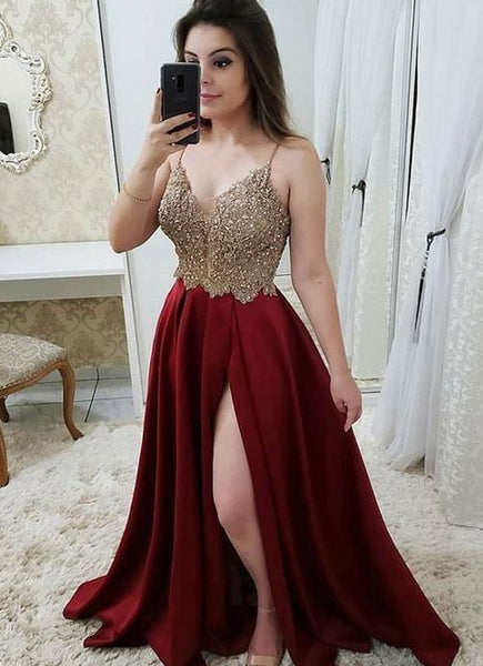 V-neck A-line Long Prom Dress With Beading Custom-made School Dance Dress Fashion Graduation Party Dress YDP0435