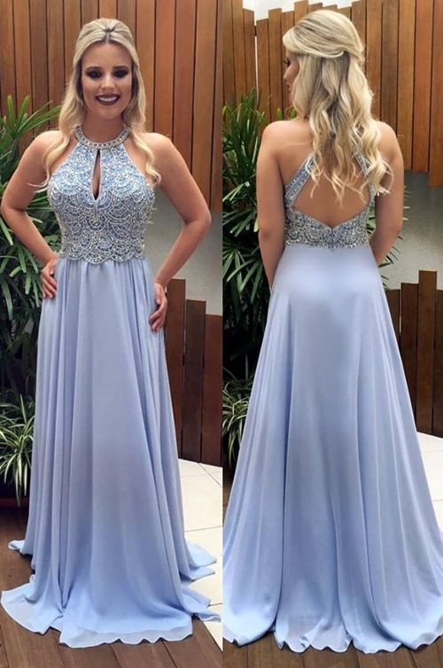 Open Back Beaded Long Prom Dresses Custom-made School Dance Dress Fashion Graduation Party Dress YDP0525
