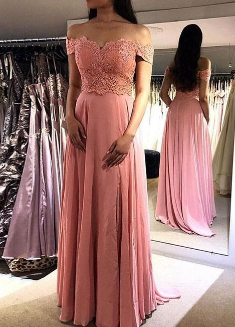A-line Appliqued Long Prom Dress School Dance Dress Fashion Winter Formal Dress YDP0308