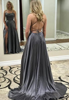 Simple A-line Satin Long Prom Dress Custom Made Formal Dress Fashion Winter Dance Dress YDP0123