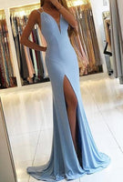 Simple Mermaid Long Prom Dress with Slit Fashion Wedding Party Dress YDP0032
