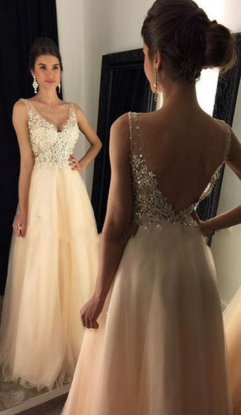 V-neck A-line Long Prom Dress with Applique and Beading Custom Made Formal Dress Fashion Winter Dance Dress YDP0107