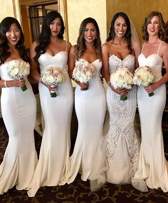 Simple Mermaid Long Bridesmaid Dress Custom Made Wedding Party Dress YDB0017