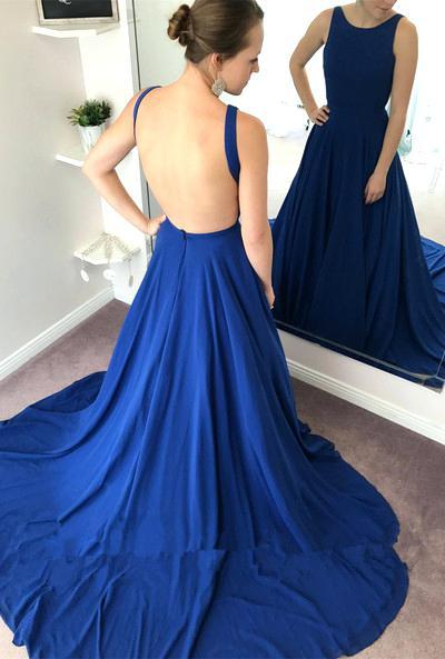 Backless Long Prom Dress Custom-made School Dance Dress Fashion Graduation Party Dress YDP0418