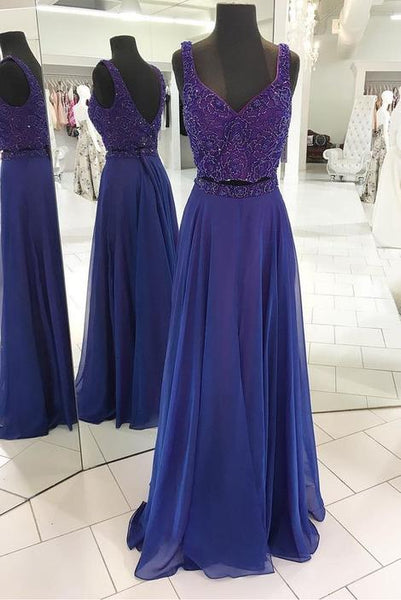 Two Pieces Long Prom Dress with Beading Sweet 16 Dance Dress Fashion Winter Formal Dress YDP0193