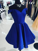 Off the Shoulder Royal Blue Satin Homecoming Dress Custom Made Winter Dance Dress Fashion Short Prom Dress YDP0079