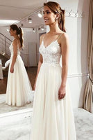 A-line Beach Wedding Dress, Fashion Custom Made Bridal Dress YDW0073