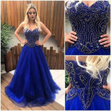Sweetheart Royal Blue Long Prom Dress With Beading Custom-made School Dance Dress Fashion Graduation Party Dress YDP0439