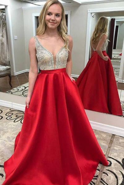Backless Beaded Long Satin Prom Dress Fashion School Dance Dress YDP0059