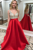 Backless Beaded Satin Long Prom Dress Custom Made Party Dress Fashion School Dance Dress YDP0064