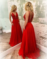 Long Prom Dresses V-back A-line 8th Graduation Dress Custom-made Formal Dress YDP0755