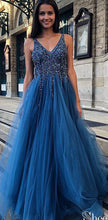 Load image into Gallery viewer, V-neck Long Prom Dresses With Beading Custom-made School Dance Dress Fashion Graduation Party Dress YDP0578