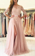 Load image into Gallery viewer, A-line Long Prom Dresses With Sleeves Custom-made School Dance Dress Fashion Graduation Party Dress YDP0508