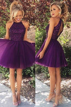 Load image into Gallery viewer, Open Back Beaded Tulle Homecoming Dress Custom Made Short Prom Dress YDP0006