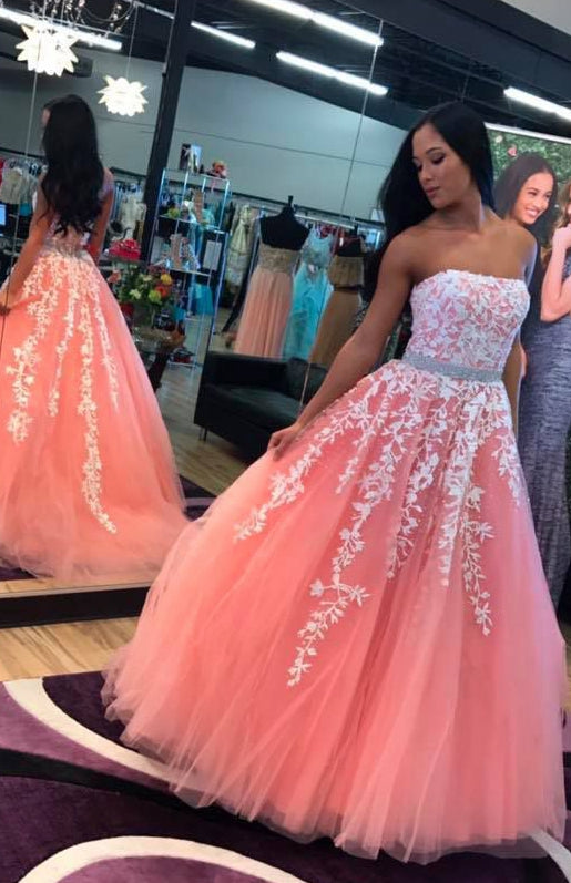 2021 Strapless Ball Gown Long Prom Dresses with Appliques and Beading ,Formal Dresses YPS1060