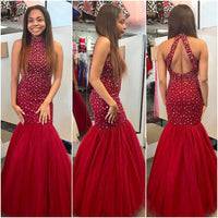 Open Back Mermaid Long Prom Dresses with Beading Custom-made School Dance Dress Fashion Graduation Party Dress YDP0529