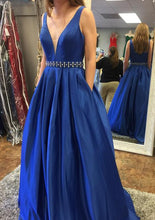 Load image into Gallery viewer, V-neck A-line Long Prom Dress Custom-made School Dance Dress Fashion Graduation Party Dress YDP0419