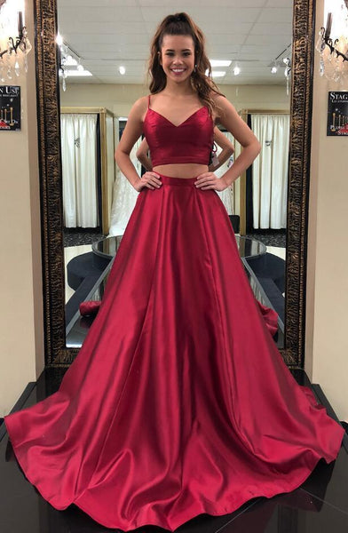 Burgundy Two Pieces Long Prom Dress School Dance Dress Fashion Winter Formal Dress YDP0374