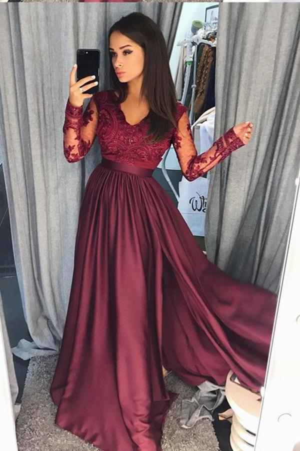 A Line Long Prom Dress With Sleeves School Dance Dress