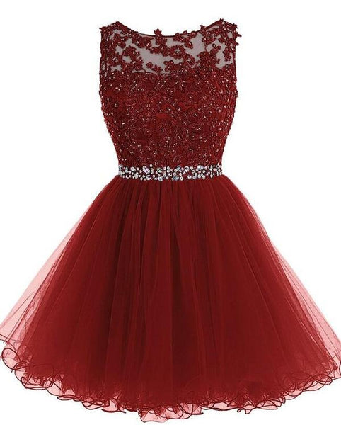 Burgundy Short Homecoming Dress Custom Made Winter Dance Dress Fashion Short Prom Dress YDP0073