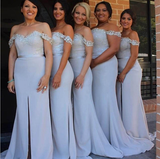 Off Shoulder Long Bridesmaid Dress,Custom Made Wedding Party Dress YDB0054