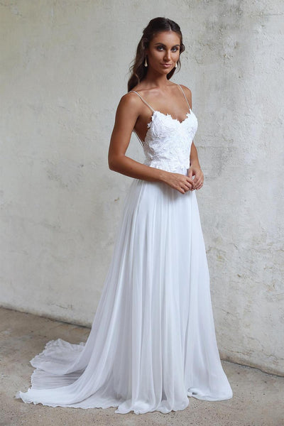 A-line Chiffon Beach Wedding Dress Fashion Custom Made Bridal Dress YDW0069