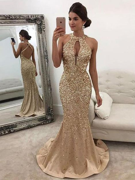 Open Back Full Beaded Mermaid Long Prom Dress School Dance Dress Fashion Winter Formal Dress YDP0268