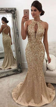 Load image into Gallery viewer, Open Back Full Beaded Mermaid Long Prom Dress School Dance Dress Fashion Winter Formal Dress YDP0268