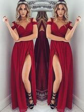 Load image into Gallery viewer, Sexy Burgundy Long Prom Dress School Dance Dress Fashion Winter Formal Dress YDP0249