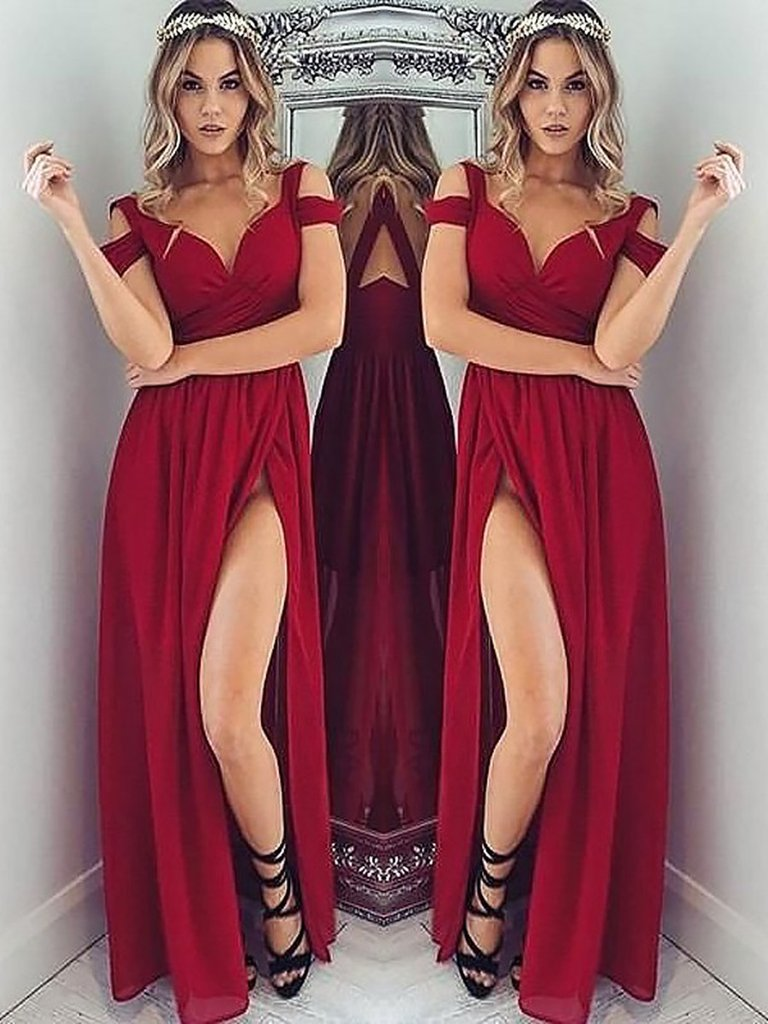 Sexy Burgundy Long Prom Dress School Dance Dress Fashion Winter Formal Dress YDP0249