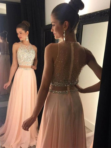 A-line Beaded Long Prom Dress Custom Made Formal Dress Fashion Winter Dance Dress YDP0134