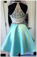 Halter Neck Beaded Satin Homecoming Dress Custom Made Short Prom Dress YDP0007