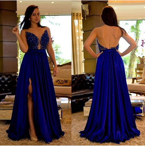Sexy Long Prom Dress With Applique and Beading Custom-made School Dance Dress Fashion Graduation Party Dress YDP0414