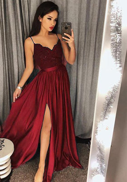 Burgundy A-line Long Prom Dress with Slit Sweet 16 Dance Dress Fashion Winter Formal Dress YDP0201