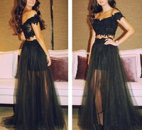 Black Two Pieces Long Prom Dress With Applique Custom Made Formal Dress Fashion Winter Dance Dress YDP0170