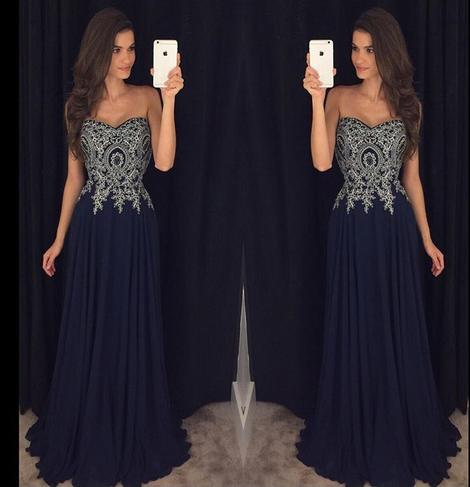 Sweetheart A-line Long Prom Dress with Applique and Beading Custom Made Party Dress Fashion Winter Dance Dress YDP0087