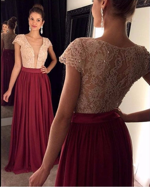 A-line Lace Top Long Prom Dress With Beading School Dance Dress Fashion Winter Formal Dress YDP0243