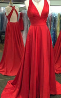 Simple V-neck A-line Long Prom Dresses Custom-made School Dance Dress Fashion Graduation Party Dress YDP0484