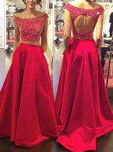 Load image into Gallery viewer, Open Back Two Pieces Beaded Long Prom Dress School Dance Dress Fashion Winter Formal Dress YDP0250