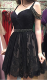 Black Lace Homecoming Dress with Beading Custom Made Short Dance Dress Fashion Short Prom Dress YDP0187