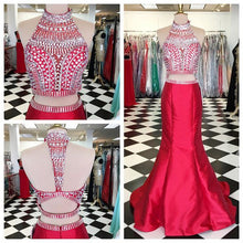 Load image into Gallery viewer, Two Pieces Beaded Long Prom Dresses Custom-made School Dance Dress Fashion Graduation Party Dress YDP0542