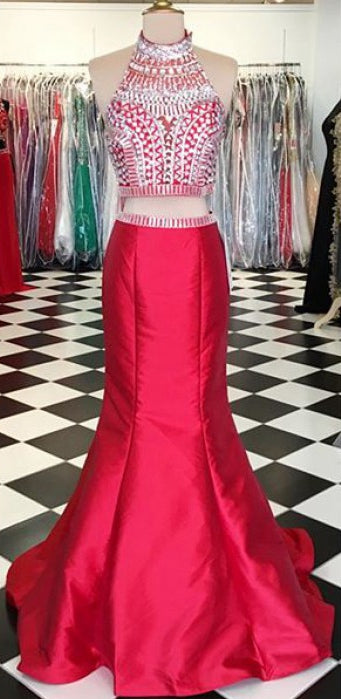 Two Pieces Beaded Long Prom Dresses Custom-made School Dance Dress Fashion Graduation Party Dress YDP0542