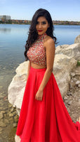 Two Pieces Beaded Long Prom Dresses Custom-made School Dance Dress Fashion Graduation Party Dress YDP0543