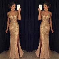 Golden Sexy Long Prom Dress Full Beading Party Dress Fashion School Dance Dress YDP0062