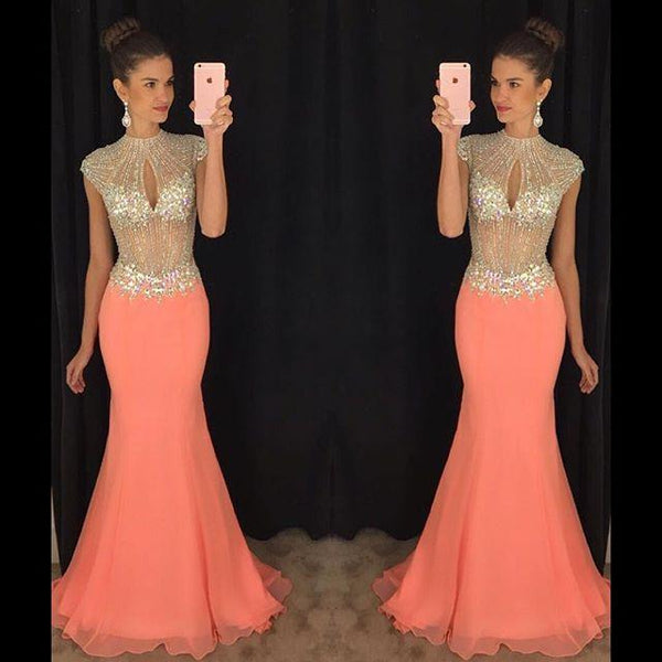 Open Back Mermaid Long Prom Dress With Beading Custom Made Formal Dress Fashion Winter Dance Dress YDP0156