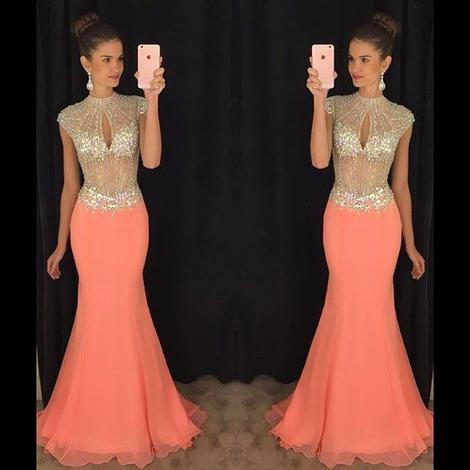 Open Back Mermaid Long Prom Dress Custom Made Beaded Wedding Party Dress YDP0008