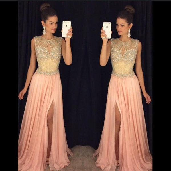 A-line Long Prom Dress Custom Made Beaded Wedding Party Dress YDP0009